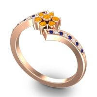 Simple Floral Pave Utpala Citrine Ring with Blue Sapphire and Diamond in 14K Rose Gold
