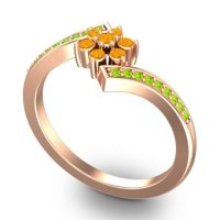 Simple Floral Pave Utpala Citrine Ring with Peridot in 18K Rose Gold