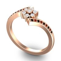 Simple Floral Pave Utpala Diamond Ring with Black Onyx and Garnet in 14K Rose Gold
