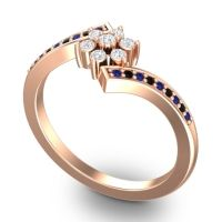 Simple Floral Pave Utpala Diamond Ring with Blue Sapphire and Black Onyx in 14K Rose Gold