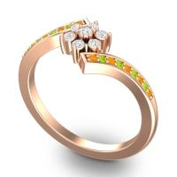 Simple Floral Pave Utpala Diamond Ring with Citrine and Peridot in 18K Rose Gold