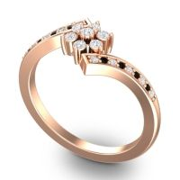 Diamond Simple Floral Pave Utpala Ring with Black Onyx in 18K Rose Gold