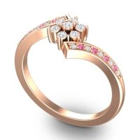Simple Floral Pave Utpala Diamond Ring with Pink Tourmaline in 18K Rose Gold