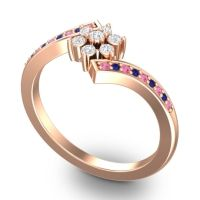 Simple Floral Pave Utpala Diamond Ring with Pink Tourmaline and Blue Sapphire in 14K Rose Gold