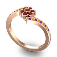 Simple Floral Pave Utpala Garnet Ring with Amethyst and Citrine in 18K Rose Gold