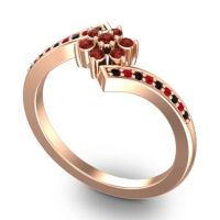 Simple Floral Pave Utpala Garnet Ring with Black Onyx and Ruby in 18K Rose Gold