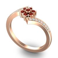 Simple Floral Pave Utpala Garnet Ring with Diamond and Aquamarine in 18K Rose Gold