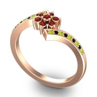 Garnet Simple Floral Pave Utpala Ring with Peridot and Black Onyx in 18K Rose Gold