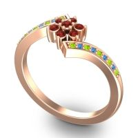 Simple Floral Pave Utpala Garnet Ring with Peridot and Swiss Blue Topaz in 14K Rose Gold