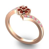 Simple Floral Pave Utpala Garnet Ring with Pink Tourmaline and Aquamarine in 18K Rose Gold