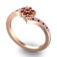 Simple Floral Pave Utpala Garnet Ring with Pink Tourmaline and Blue Sapphire in 18K Rose Gold