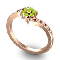 Simple Floral Pave Utpala Peridot Ring with Aquamarine and Garnet in 18K Rose Gold