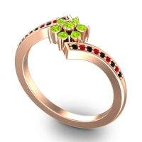 Simple Floral Pave Utpala Peridot Ring with Black Onyx and Ruby in 18K Rose Gold