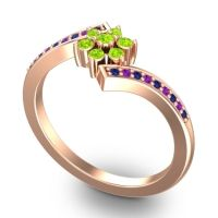Simple Floral Pave Utpala Peridot Ring with Blue Sapphire and Amethyst in 14K Rose Gold