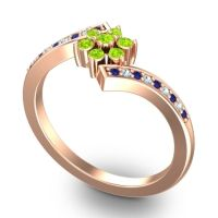 Simple Floral Pave Utpala Peridot Ring with Blue Sapphire and Aquamarine in 14K Rose Gold
