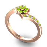 Simple Floral Pave Utpala Peridot Ring with Aquamarine in 14K Rose Gold