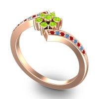 Simple Floral Pave Utpala Peridot Ring with Ruby and Swiss Blue Topaz in 14K Rose Gold
