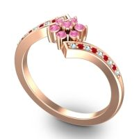 Simple Floral Pave Utpala Pink Tourmaline Ring with Aquamarine and Ruby in 14K Rose Gold