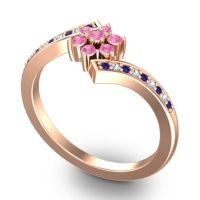 Simple Floral Pave Utpala Pink Tourmaline Ring with Blue Sapphire and Aquamarine in 18K Rose Gold