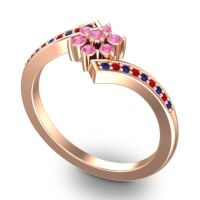 Simple Floral Pave Utpala Pink Tourmaline Ring with Blue Sapphire and Ruby in 14K Rose Gold