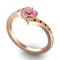 Simple Floral Pave Utpala Pink Tourmaline Ring with Citrine and Blue Sapphire in 18K Rose Gold