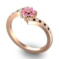 Pink Tourmaline Simple Floral Pave Utpala Ring with Diamond and Black Onyx in 18K Rose Gold