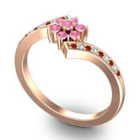 Simple Floral Pave Utpala Pink Tourmaline Ring with Garnet and Aquamarine in 18K Rose Gold