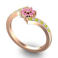 Simple Floral Pave Utpala Pink Tourmaline Ring with Peridot and Aquamarine in 14K Rose Gold