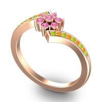 Simple Floral Pave Utpala Pink Tourmaline Ring with Peridot and Citrine in 18K Rose Gold