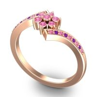 Simple Floral Pave Utpala Pink Tourmaline Ring with Amethyst in 18K Rose Gold