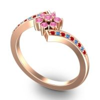 Simple Floral Pave Utpala Pink Tourmaline Ring with Ruby and Swiss Blue Topaz in 14K Rose Gold