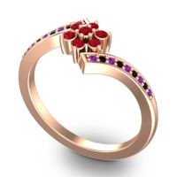 Simple Floral Pave Utpala Ruby Ring with Amethyst and Black Onyx in 18K Rose Gold