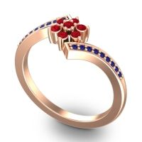 Simple Floral Pave Utpala Ruby Ring with Blue Sapphire in 18K Rose Gold
