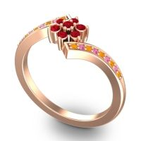 Simple Floral Pave Utpala Ruby Ring with Citrine and Pink Tourmaline in 14K Rose Gold