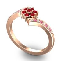 Simple Floral Pave Utpala Ruby Ring with Diamond and Pink Tourmaline in 14K Rose Gold