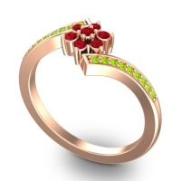 Simple Floral Pave Utpala Ruby Ring with Peridot in 14K Rose Gold