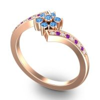 Simple Floral Pave Utpala Swiss Blue Topaz Ring with Diamond and Amethyst in 14K Rose Gold