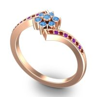 Simple Floral Pave Utpala Swiss Blue Topaz Ring with Garnet and Amethyst in 18K Rose Gold