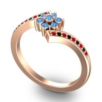 Simple Floral Pave Utpala Swiss Blue Topaz Ring with Ruby and Black Onyx in 14K Rose Gold