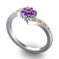 Simple Floral Pave Utpala Amethyst Ring with Aquamarine and Citrine in 14k White Gold