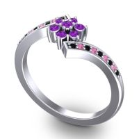 Simple Floral Pave Utpala Amethyst Ring with Black Onyx and Pink Tourmaline in 18k White Gold