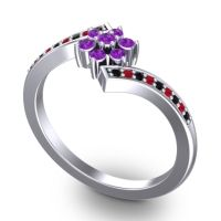 Simple Floral Pave Utpala Amethyst Ring with Black Onyx and Ruby in Palladium