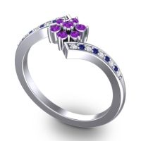 Simple Floral Pave Utpala Amethyst Ring with Diamond and Blue Sapphire in 14k White Gold