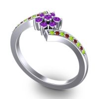 Simple Floral Pave Utpala Amethyst Ring with Peridot and Garnet in Platinum