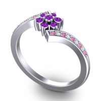 Simple Floral Pave Utpala Amethyst Ring with Pink Tourmaline and Diamond in 18k White Gold