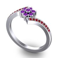 Simple Floral Pave Utpala Amethyst Ring with Ruby and Garnet in Palladium