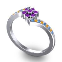 Simple Floral Pave Utpala Amethyst Ring with Swiss Blue Topaz and Citrine in 18k White Gold