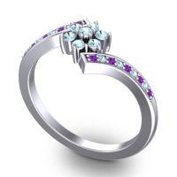 Simple Floral Pave Utpala Aquamarine Ring with Amethyst in Platinum