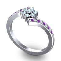 Simple Floral Pave Utpala Aquamarine Ring with Amethyst and Diamond in Platinum