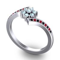 Simple Floral Pave Utpala Aquamarine Ring with Black Onyx and Ruby in Platinum